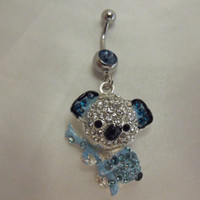Belly Button Navel Ring Blue Rhinestone Koala Bear by AGothShop