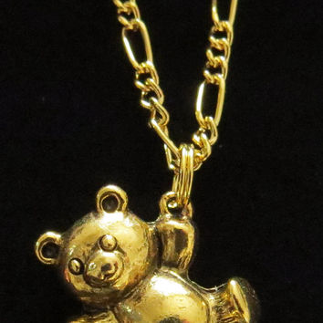 Dangling Teddy Bear Necklace 24 Karat Gold Plate or OMS with Sterling Silver Plate 18 Inch Figaro Chain Stuffed Animal NG012 / NS003