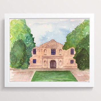San Antonio Painting, The Alamo, Original Watercolor Landscape, Texas artwork, Historical Painting, Mexico decor, travel art