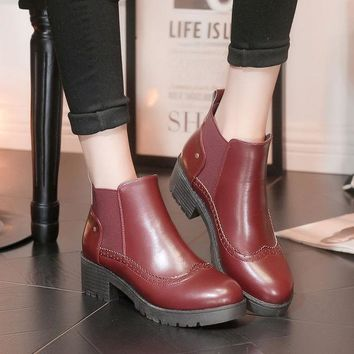 ESBONG Korean Winter Vintage Round-toe High Heel Dr Martens Ankle Boots [9432939594]
