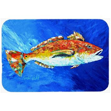 Red Fish White Spin Glass Cutting Board Large MW1212LCB