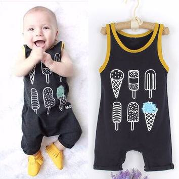 Puseky 2017 Baby Clothing Sleeveless Rompers Newborn Toddler Infant Baby Boy Girl Cotton Ice cream Romper Jumpsuit Clothes Sum