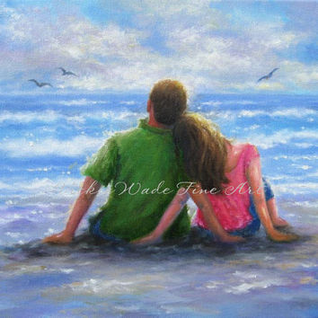 Beach Lovers Art Print beach couple beach paintings wall art hugging romantic beach paintings, Vickie Wade art