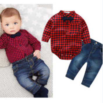 Hipster 3pc Checkered shirts + jeans + Bow Tie