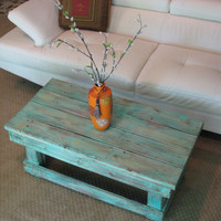 Rustic Distressed Coffee Table with Aqua Color Pop Distressed Finish