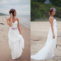 Perfect Beach Wedding Dress-26 colors made to order-Deep sweetheart A-line chiffon summer dress