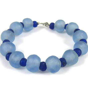 Light and dark blue recycled glass bead bangle bracelet