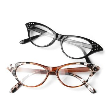 1pcs black Cat Eye Women Leopard Reading Glasses Resin Crystal Rhinestone Decoration Glasses