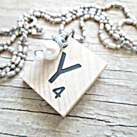 Scrabble Tile Necklace - Initial Necklace - Upcycled, Recycled, Repurposed - Letter Tile Necklace - Scrabble Pendant - Alphabet Necklace
