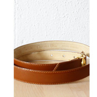 Dior Belt M • Camel Brown Leather Skinny Belt • Christian Dior | BT156