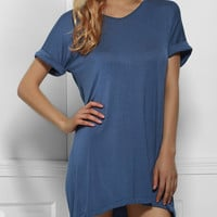 Sapphire Blue High-Low T-Shirt Dress