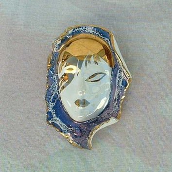 Ceramic Woman Face Brooch Pin Gilt Purple Hand Painted Vintage Jewelry