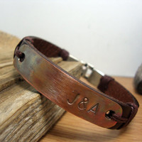 FREE SHIPPING - Men's Bracelet,Leather Men Bracelet,Personalized men's Leather Bracelet,brown leather with brown yarn and tumbled copper