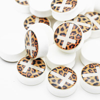 Cross on Leopard Print BMA Plugs (2.5mm-60mm)