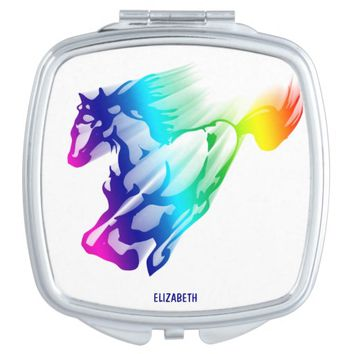 Running Rainbow Horse With Motion Trail Vanity Mirror