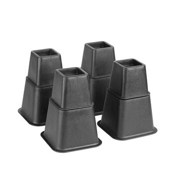 "Black 6"" Bed Risers - Wheel Friendly"