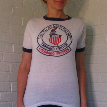 1970s Ringer Tee. Olympic Training Center Colorado Springs. Unisex. Small.