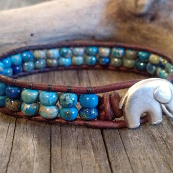 Aqua Terra, Leather Beaded Wrap Bracelet, Elephant Button, Chan Luu, Southwest chic