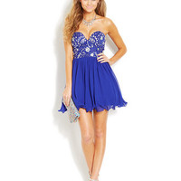 B Darlin Juniors' Strapless Sweetheart Dress