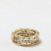 AEO Women's Turquoise & Crystal Stacking Ring Set (Mixed Metal)