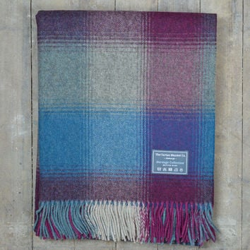 Heritage Merino Blanket in Blue and Wine Patchwork
