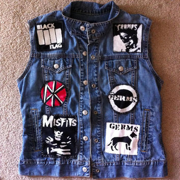 Custom Denim Patched Punk Vest