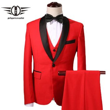 Red Wedding Suit For Men Slim Fit Men Shawl Collar Suit Luxury 3 Piece Party Suits Prom Tuxedos