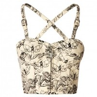 VG-1100 - White Denim Bustier with Butterfly Print