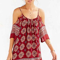 Ecote Border Printed Cold Shoulder Dress- Red Multi