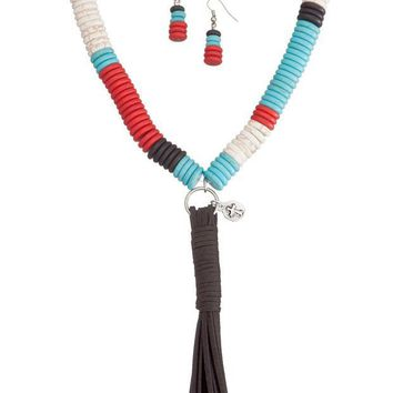 MDIGYW3 West and Co. Faux Turquoise, Red, White and Black Large Bead Necklace Set