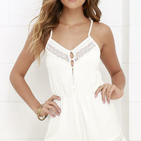 American Honey Ivory Lace Romper