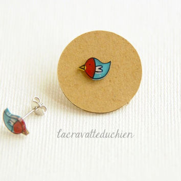 Bird earrings, Small bird jewelry, Illustrated teal red earring studs