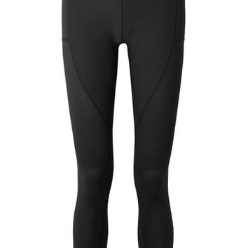 Nike - Power cropped mesh-paneled Dri-FIT stretch leggings