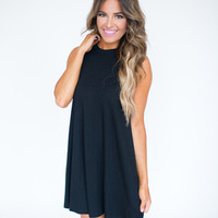 Ribbed Shift Tank Dress- Black