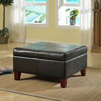 Luxury Large Black Faux Leather Storage Ottoman