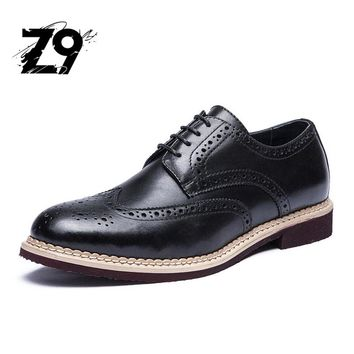 Top classic men flats shoes oxford style business handmade lace-up leather bullock supper light comfortable deby brogues design
