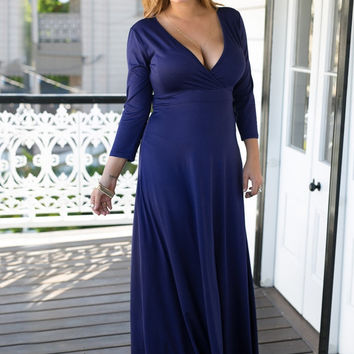 Navy Blue Surplice Maxi Dress