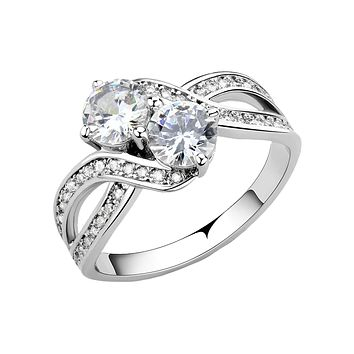 Wrapped Around You - Women's Elegant Rhodium Plated Brass Ring with Two AAA Grade Clear Round CZ Stones