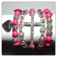 Pink Turquoise Cross Bracelet Set by taline24 on Etsy