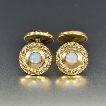 Antique Edwardian Gold Filled Opal Cuff Links