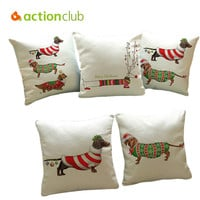Actionclub Christmas Festival Dachshund Cushion Cover 45X45CM Happy Birthday Sausage Dog Pillow Cases New Year Gift Bedroom Sofa