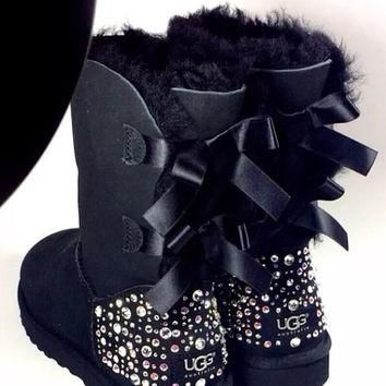 Crystal Bling Ugg Bailey Bow Boots made with Genuine Swarovski Crystals in Sparkly Nig