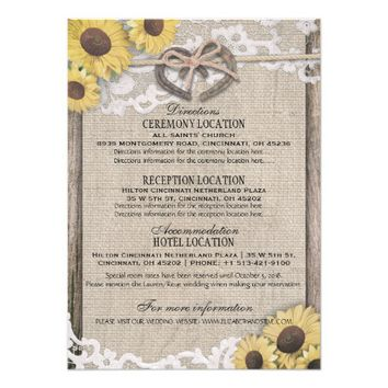 Horseshoes Burlap Lace Sunflower Wedding Details Card