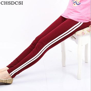 Women Side White Stripe Leggings Fashion Deportes Full Length Solid Legging Women's Slim Striped Fitness Pencil Workout Leggins