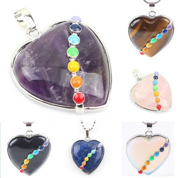 JLForest Heart Shaped Natural Stone Pendants For Necklace 7 Chakras Healing Reiki Pendants Crystal/Quartz/Opal/Tiger Eye Jewelry
