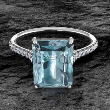 Aquamarine Engagement Ring Emerald Cut Diamond Ring 14K White Gold Bridal Jewelry Solitaire Ring Wedding Ring