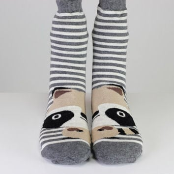 Sweet Raccoon Socks Animal Socks White Gray Striped Socks Cute Socks Girls Socks Women Socks Funny Socks Ankle Socks Animal Socks Fun Socks