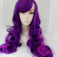 ON SALE // Purple and Neon Violet / Long Curly Layered Wig Mermaid Hair Lolita Natural Scalp Piece