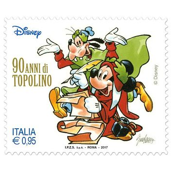 Disney Italy 90th Anniversary of Mickey Mouse 1 stamp 0.95 € New