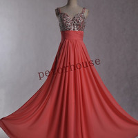 Coral Beaded Long Bridesmaid Dresses with Peacock Necklace,Prom Dresses,Evening Dresses,Formal Party Dresses,Wedding Party Dresses